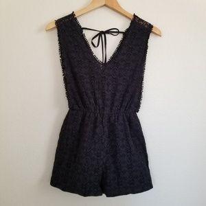 Topshop Petite Black Crochet Romper Size 2